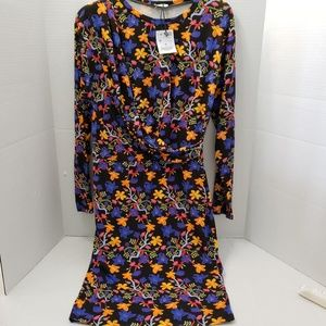 Zara Trafaluc Dress Drape Over Floral Bold M